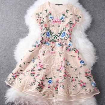 Mixed Color Flower Embroidery Cap Sleeve Bodycon Skater Dress