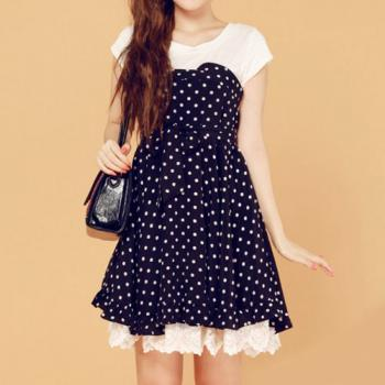 Polka Dots Short Sleeve Sweet Bodycon Crew Neck Dress