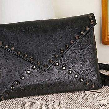 FREE SHIPPING New 2014 Fashion Korean Designer Rivet Envelope Single Shoulder Women Bags Skull Clutch Crossbody Punk Brand Handbags