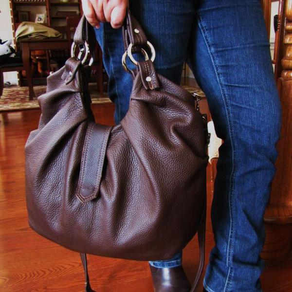 Large Brown Leather Hobo Bag Pleated Satchel Boston Bag - Chocolate Brownie