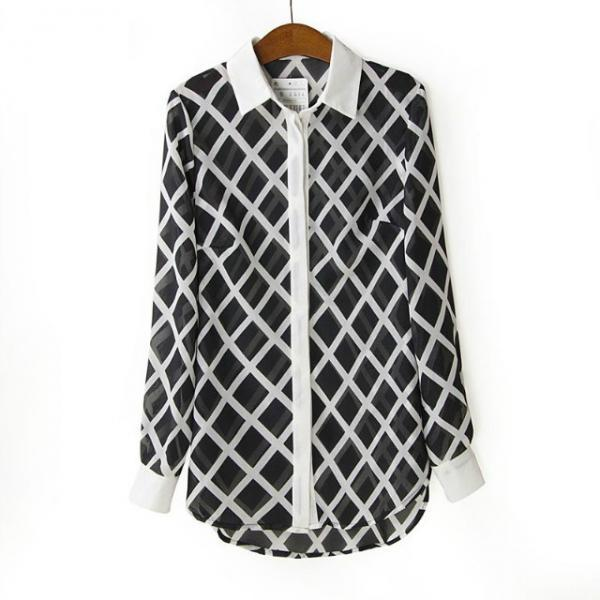 Geo Semi-sheer Chiffon Shirt