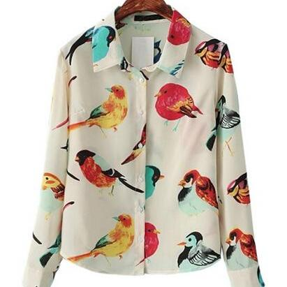 Bird Button-up Chiffon Shirt