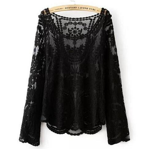 Floral Crocheted Mesh Blouse