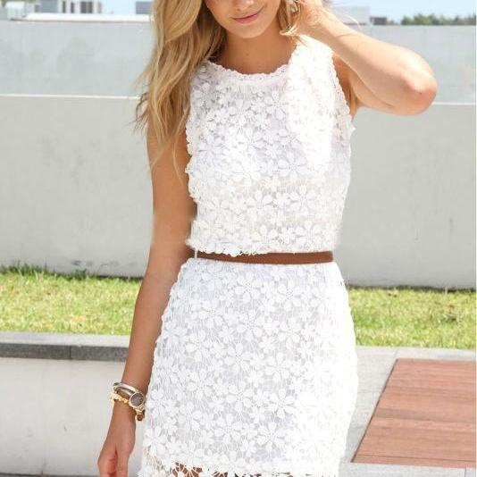 New Women Sexy Floral Lace Crochet Sleeveless Casual Cocktail Evening Mini Dress