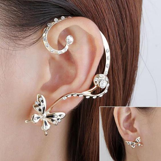1 Pair Modish Nice Women Butterfly Ear Cuff Clip Stud Crystal Rhinestone Earring