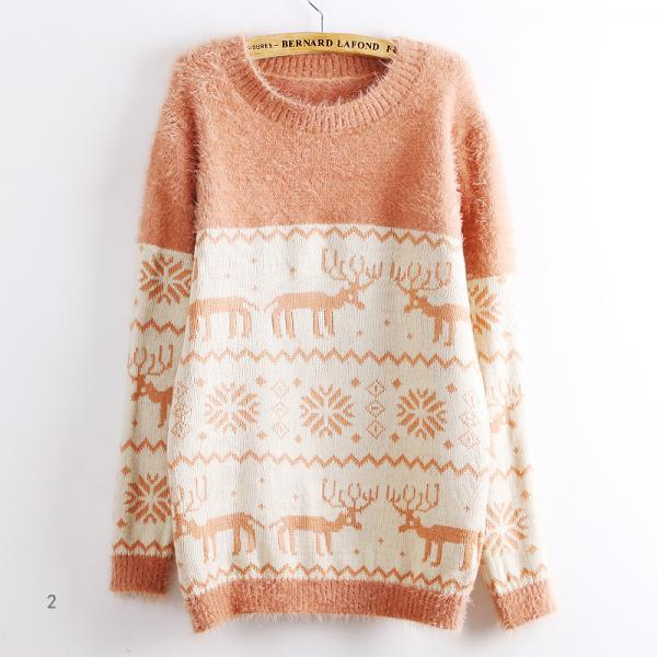 Deer Snowflake Round Neck Sweater For Women TXEC6C20FQE368AJVWGDO 19U2ELUFZW8