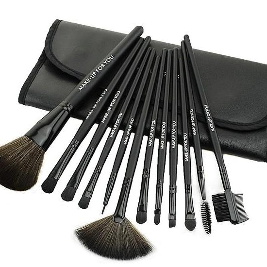 12 Pcs Professioal Makeup Brush Set With Black Leather Case - Black WHVOTYYWRJHYF6IBDMA23 9L6RAOQKFZP