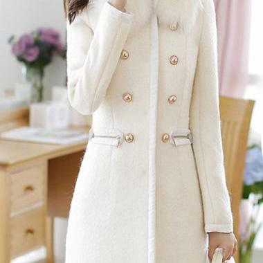 Sweet Long Sleeve Double Breasted Closure Winter Coat - White
