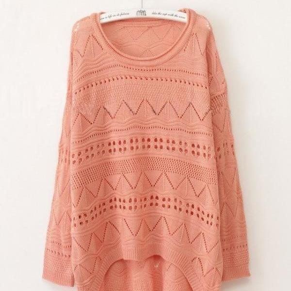 Pink Green Curved Hum Knit Holey Texture Long Sweater