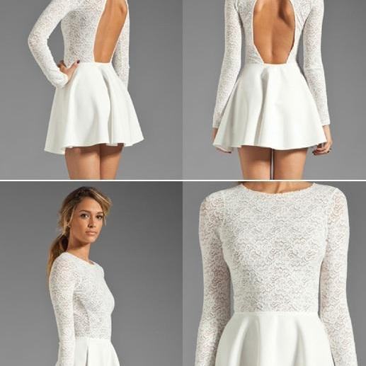White Lace Fashion Sexy Back Halter Long Sleeved Dress